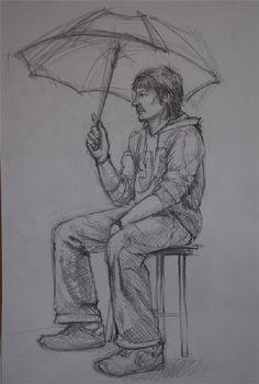 Şemsiyeli adam model çizimi karakalem