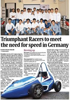 Some of the Media coverage. #triumphantracers #formulastudent #navimumbai #FSspirit