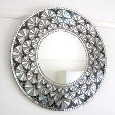 Large Round Wall Mirror, Mirror Mosaic, Mirror Art, Mosaic Wall, Round Mirrors, Mosaic Glass, Mosaic Tiles, Glass Art, Sea Glass