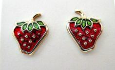 Tiny Strawberry Vintage Stud Pierced Earrings - 1979 Avon Glazed Strawberries Earrings in Box - StrawberryEarrings Jewelry by vintagejunque on Etsy