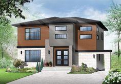 Contemporary Modern Elevation of Plan 76368