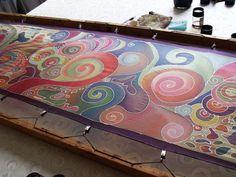 Fabric Painting, Fabric Art, Silk Image, Ebru Art, Painting Templates, Batik Art, Silk Art, How To Dye Fabric, Silk Scarves