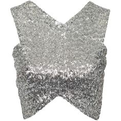 Nly Trend The Cover All With Sequin Top (37 CAD) ❤ liked on Polyvore featuring tops, crop tops, shirts, silver, womens-fashion, tall tops, crop shirts, shirts & tops, stretch crop top and tall shirts