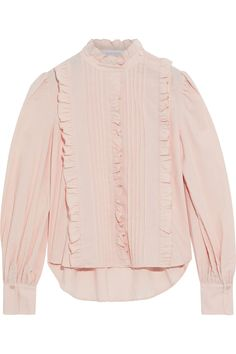 Blush Ruffled pintucked cotton blouse | Sale up to 70% off | THE OUTNET | SEE BY CHLOÉ | THE OUTNET Coat Dress, Jacket Dress, Long Tops, Long Sleeve Tops, Dress Outfits, Fashion Dresses, Chloe Clothing, Beach Wear Dresses, See By Chloe