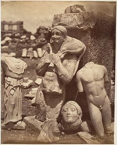 """didoofcarthage: """" """"The Calf-Bearer and the Kritios Boy Shortly After Exhumation on the Acropolis"""" c. 1865 albumen silver print from glass negative Gilman Collection, Metropolitan Museum of Art """" Ancient Greek Sculpture, Ancient Greek Art, Ancient Greece, Archaic Greece, Greek History, Ancient History, Art History, Sculpture Romaine, Classical Mythology"""