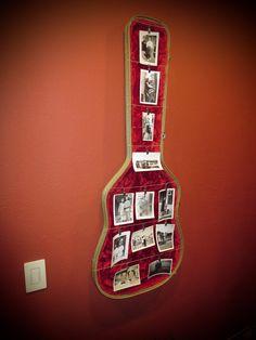Photo Board made from guitar case lids, available on Etsy at jimbosguitarshelves Guitar Shelf, Guitar Wall Hanger, Guitar Display, Guitar Case, Music Furniture, Diy Furniture, Guitar Crafts, Pub Interior, Music Studio Room