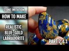 TUTORIAL | Stone imitation technique - Realistic Blue-Gold Labradorite!! (New version - Part 2.4.1) - YouTube