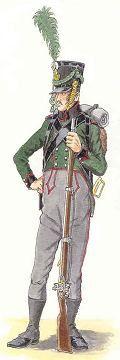 (distinctive bleue, boutons jaunes).      L'infanterie légère comprend deux régiments à huit compagnies. Ils portent l'habit vert à collet et parements noirs liserés de rouge.