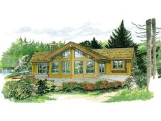 The Colgate Rustic A-Frame Home has 3 bedrooms and 2 full baths. See amenities for Plan 062D-0049.