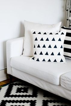DIY potato stamped triangle pillow