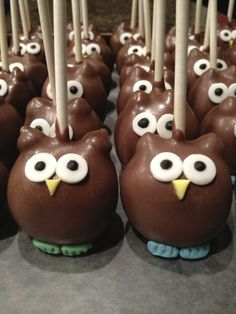 Owl Cake Pops- These ones look simple enough for me :-)