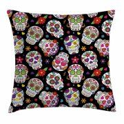 Sugar Skull Decor Throw Pillow Cushion Cover, Festive Graveyard Mexico Ritual Figures Mask Design on Black Backdrop, Decorative Square Accent Pillow Case, 20 X 20 Inches, Multicolor, by Ambesonne