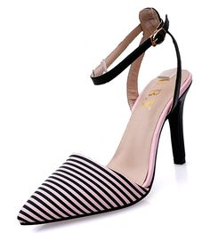 XRU Women PU Pointed Toe Stripes Ankle Buckle Strap Stiletto High Heel Slingback Sandals Pink size 8 * Find out more about the great product at the image link.