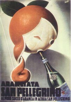 Poster Advertising by Gino Boccasile (1901-1952), Aranciata San Pellegrino. #ItalianPoster