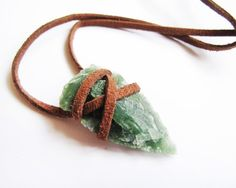 Brown Leather Wrapped Arrowhead Necklace by SOMETHiNGMONUMENTAL, $18.75
