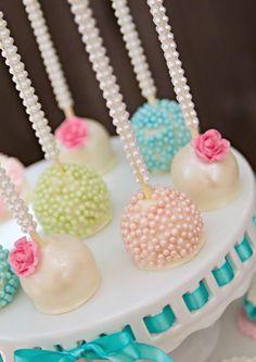 Cute cake pops at a Vintage Pony Soiree via Kara's Party Ideas |