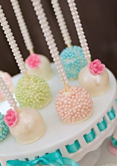 Cute cake pops at a Vintage Pony Soiree via Kara's Party Ideas |