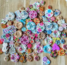 Check out this item in my Etsy shop https://www.etsy.com/uk/listing/197922248/pack-of-12-assorted-wooden-buttons-lots