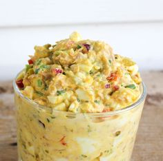 Close up of my Confetti Egg Salad Spicy Recipes, Egg Recipes, Grilling Recipes, Chicken Recipes, Cooking Recipes, Healthy Recipes, Appetizer Recipes, Free Recipes, Confetti Eggs