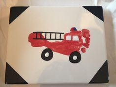 Fire truck footprint - this would make a cute coaster/framed art for a Father's Day gift. Father's Day gift ideas, firefighter fathers' day, firefighter gifts, father's day gifts, dad and grads.