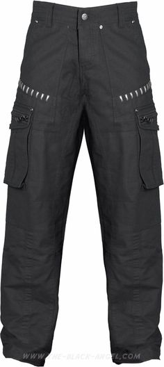 Black cargo pants for men, futuristic cyber-goth look, by Queen of Darkness Clothing.