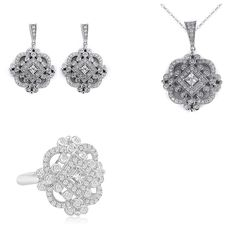 Matching Vintage Antique Cubic Zirconia Earrings, Pendant and Ring