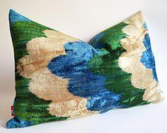 Sukan / SET (2 piece)  Silk Velvet Ikat Pillow Covers - Lumbar pillow covers - Throw pillows  - Decorative pillow covers - Blue Green Beige. $140.00, via Etsy.