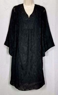 Signature Robbie Bee Dress 14 Black Sheer Lace Shift Peasant #Boho #RobbieBee #Shift #Casual# Festive