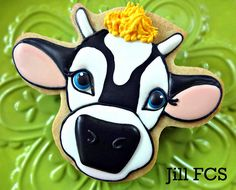 Black and White Cow Face Cookie