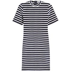 T by Alexander Wang Striped Velvet Dress (375 AUD) ❤ liked on Polyvore featuring dresses, stripes, mini dress, blue mini dress, stripe dress, mini t shirt dress and striped mini dress