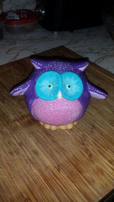 Pudgy Owl Bank painted at The Painted Turtle Pottery Studio