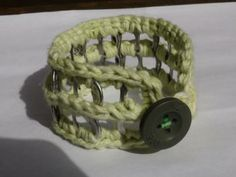 FREE SHIPPING! Crocheted Green, Arizona Jeans Button, Cotton, Pop Tab Bangle Bracelet by PopTabilicious for $9.95