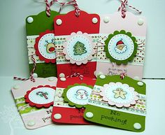 Tag with scalloped circle ribbon, twine, brads, etc.