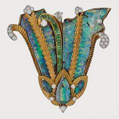 Boulder Opal, Demantoid & Diamond Brooch | por thegryphonsnest
