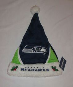 f07308d16 Seattle Seahawks SANTA Hat Blue Green Holly Leaves New Christmas Football  NFL #ForeverCollectibles #SeattleSeahawks