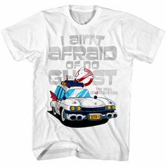 5a0abd1a Details about Ghostbusters I Ain't Afraid of No Ghost Men's T Shirt  Ectomobile ECTO-1 Car TV