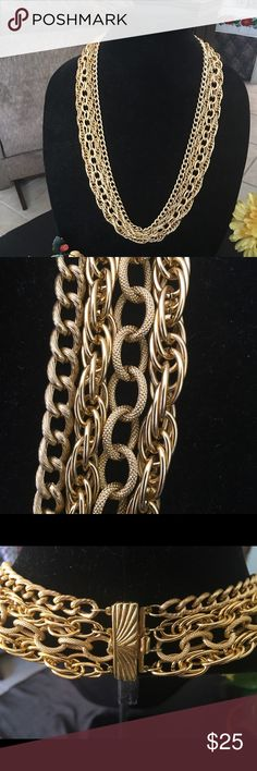 """Four chains necklace- 29"""" long🌹‼️ Beautiful four different gold tone chains.🌹‼️Hangs 29 inches long. Clasp. Light weight. Jewelry Necklaces"""