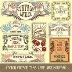 art nouveau label designs