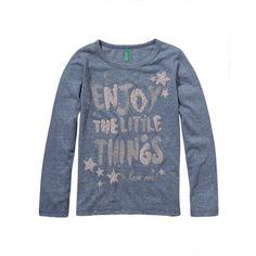 T-shirt in jersey bottonato, manica lunga, girocollo con stampa frontale.3U93C111D BLUE