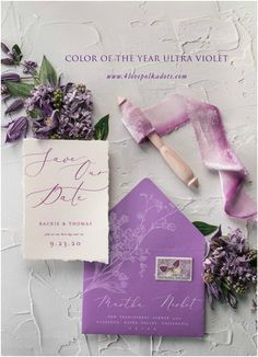 Find perfect Save the Date that reflect your wedding theme! Announce your Big Day with beautiful card in delicate and romantic design. Combination of ivory and color of the year Ultra Violet. Ideal for glamorous and elegant bride 2018 Wedding Colors, 2018 Wedding Trends, Fall Wedding Colors, Purple Wedding, Wedding Themes, Wedding Cards, Diy Wedding, Wedding Ideas, Wedding Blog