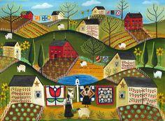 Primitive folk art country quilt RY QUILT garden sheep   (by: Cheryl Bartley American Folk Artist)