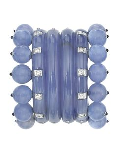 Pair of White Gold, Chalcedony, Sapphire and Diamond 'Couronne' Cuff-Bracelets…