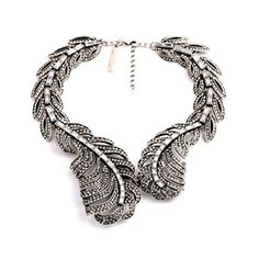 CharmL Grace Jewelry Silver Tone Vintage Big Feather Collar Statement Necklace -- To view further for this item, visit the image link.