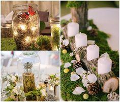 centres de table mariage foret enchantee plante sous cloche et chemin de table buche