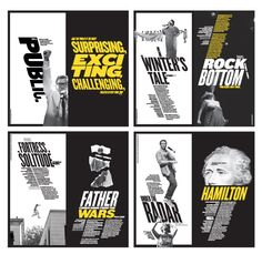 Pentagram's Paula Scher puts a new slant on her iconic identity for the Public Theater in the campaign for the institution's season. Paula Scher, Poster Design Inspiration, Typography Inspiration, Graphic Design Typography, Graphic Design Illustration, Typography Poster, Digital Illustration, Brochure Design, Branding Design