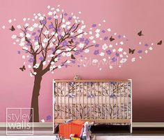 inspiration for the decals going into madison's room! have the tree, now just need the flowers and butterflies!