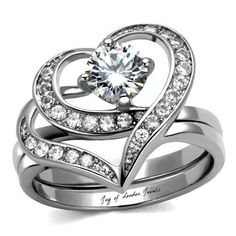 Women's Ct Round Cut Cz 2 Piece Heart Shape Stainless Steel Wedding Ring Set * Wonderful of your presence to drop by to visit the image. (This is an affiliate link) Heart Shaped Engagement Rings, Thing 1, Bridesmaid Jewelry Sets, Wedding Ring Bands, Bridal Rings, Bridal Jewellery, Or Rose, Rose Gold, Rings