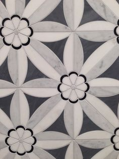 Love our Edie ~ in Nero, Bardiglio, Thassos and Carrara. New Ravenna Mosaics at Renaissance Tile and Bath.