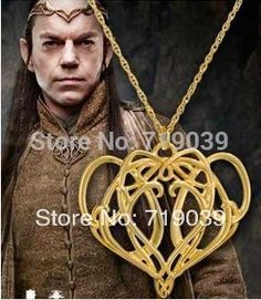 The Lord of the rin gs the hobbit elven king Free shipping High quality wholesale golden charm heart-shaped pendant necklace Hot