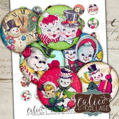 Snowman, Collage Sheet, Retro Snowmen, Digital Collage, 1 Inch Circles, Bottlecap Images, Printable Circles, Instant Download, Christmas by calicocollage on Etsy
